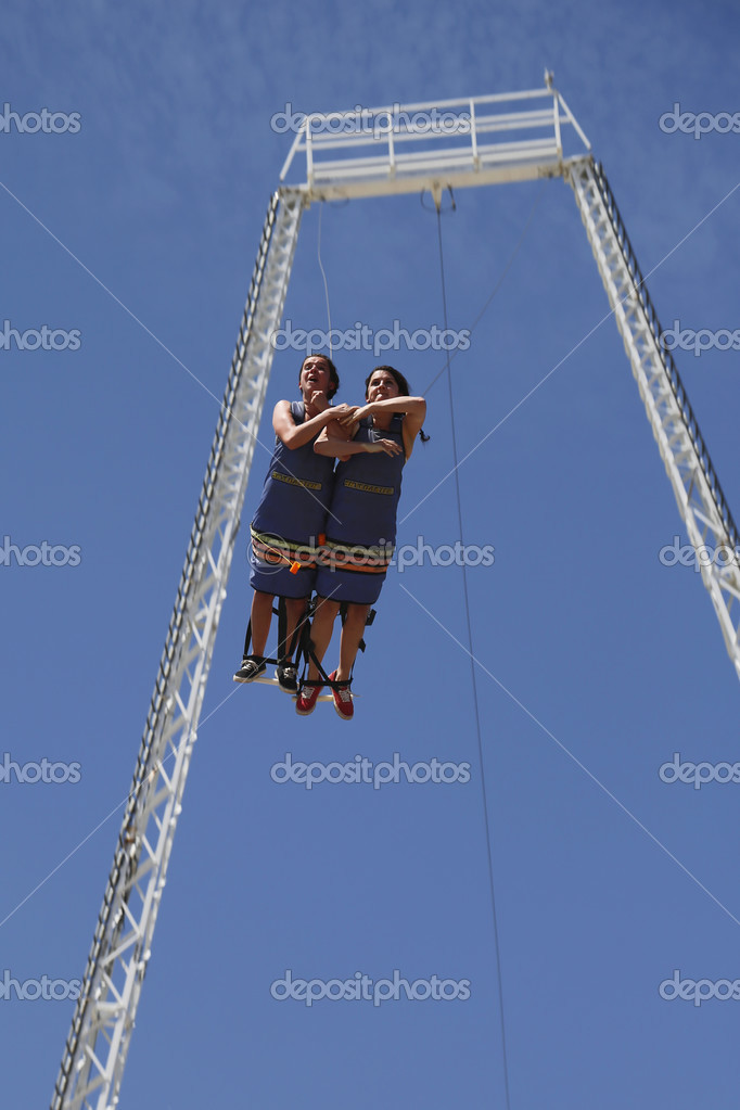 Unidentified participants during bandy jump at Boardwalk flight ...