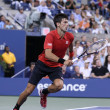 Постер, плакат: Six times Grand Slam champion Novak Djokovic during first round singles match against Ricardas Berankis at US Open 2013