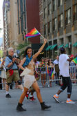 Topless LGBT Pride Parade participant in New York City — Stock Photo