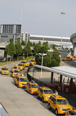 New York Taxi line next to British Airways Terminal 7 at John F Kennedy International Airport in New York — Foto Stock