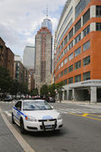 NYPD car providing security in World Trade Center area of Manhattan — Stock Photo