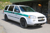 Parks Canada Park Wardens car in Banff National Park in Banff, Alberta, Canada — Stock Photo