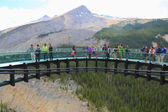 Tourists at the Glacier Skywalk in Jasper National Park,Canada — Stock Photo