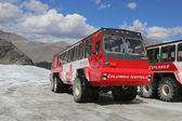 Massive Ice Explorers, specially designed for glacial travel, take tourists in the Columbia Icefields, Canada — Stock Photo