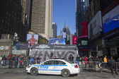 NYPD police officers ready to protect public on Times Square during Super Bowl XLVIII week in Manhattan — Stock Photo
