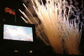 Firework at USTA Billie Jean King National Tennis Center during US Open 2013 opening night ceremony — Stock Photo