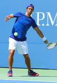 Professional tennis player Fernando Verdasco practices for US Open 2013 at Billie Jean King National Tennis Center — Foto de Stock