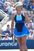 Professional tennis player Caroline Wozniacki during first round match at US Open 2013 — Stock Photo