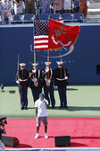 The opening ceremony before US Open 2013 women final match at Billie Jean King National Tennis Center — Stock Photo