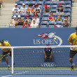 Grand Slam champions Mike and Bob Bryan during third round doubles match at US Open 2013 — Stock Photo #51397271