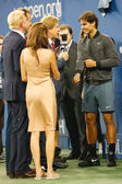 Thirteen times Grand Slam champion Rafael Nadal giving interview  after he won US Open 2013 at Billie Jean King National Tennis Center — Foto de Stock