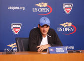 Seventeen times Grand Slam champion Roger Federer during press conference at Billie Jean King National Tennis Center — Stok fotoğraf