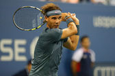 Twelve times Grand Slam champion Rafael Nadal during second round match at US Open 2013 — Stock Photo