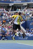Grand Slam champions Mike and Bob Bryan during third round doubles match at US Open 2013 — Stock Photo