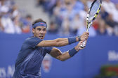 Twelve times Grand Slam champion Rafael Nadal during fourth round match at US Open 2013 — Stock Photo