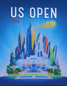 US Open 2014 poster on display at the Billie Jean King National Tennis Center — Foto de Stock