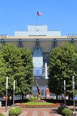 Arthur ashe stadium v billie jean král národní tenisové centrum připraven pro nás otevřený turnaj — Stock fotografie