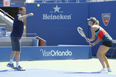 Four times Grand Slam champion Maria Sharapova practices with her coach Sven Groeneveld for US Open 2014 — Stock fotografie