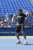 Grand Slam Champion Stanislas Wawrinka practices for US Open 2014 at Billie Jean King National Tennis Center — Stock fotografie