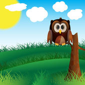 Owl In Nature — Stock Vector