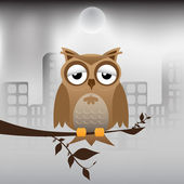 Owl and polluted city — Stock Vector