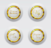 White gold metal buttons 3d — Stock Vector