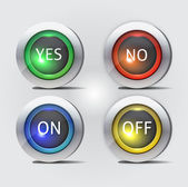 Yes no and on off buttons — Stock Vector