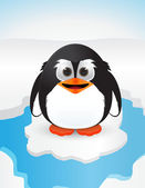 Cute penguin on snow — Stock Vector