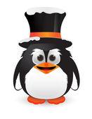 かわいいペンギン帽子と雪 — ストックベクタ