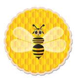Honey bee with honey comb background — Vector de stock