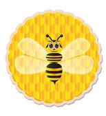 Honey bee with honey comb background — Stok Vektör