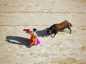 Bullfighter and black bull in action — Stock Photo