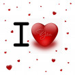 I love you with Red heart — Stockfoto