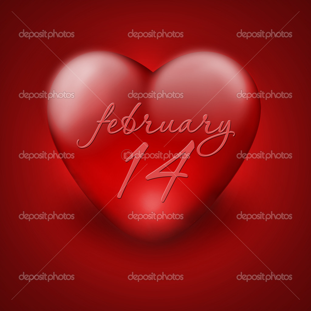 Red heart - card on valentine's day — Stock Photo #18887993
