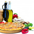 Pizza and ingredients — Stock Photo