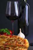 Pizza and wine — Foto Stock