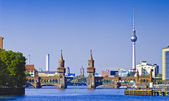 Panorama with oberbaumbruecke in berlin — Stock Photo