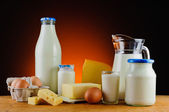 Milk, cheese, butter, eggs and cream — Stock Photo