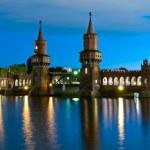 Panorama oberbaum bridge, berlin, germany — Stock Photo
