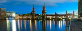 Panorama oberbaum bridge, berlin, germany — Stock Photo