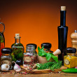 Herbs, spices and olive oil — Stock Photo #29565973