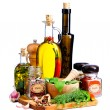 Stock Photo: Herbs, spices and olive oil