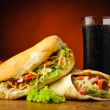 Turkish kebab, shawarma and cola drink — Stock Photo