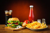 Still life with hamburger menu — Stock Photo