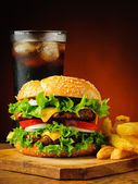 Traditional hamburger, french fries and cola drink — Stock Photo
