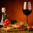 Stock Photo: Tapas snacks and wine