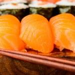 Nigiri sushi with salmon — Stock Photo #41351349