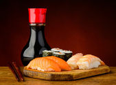 Sushi plate and soy sauce — Stock Photo