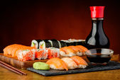 Still life with mixed sushi plate — Stock Photo