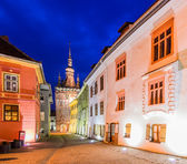 Sighisoara in Transylvania at night — Stock Photo
